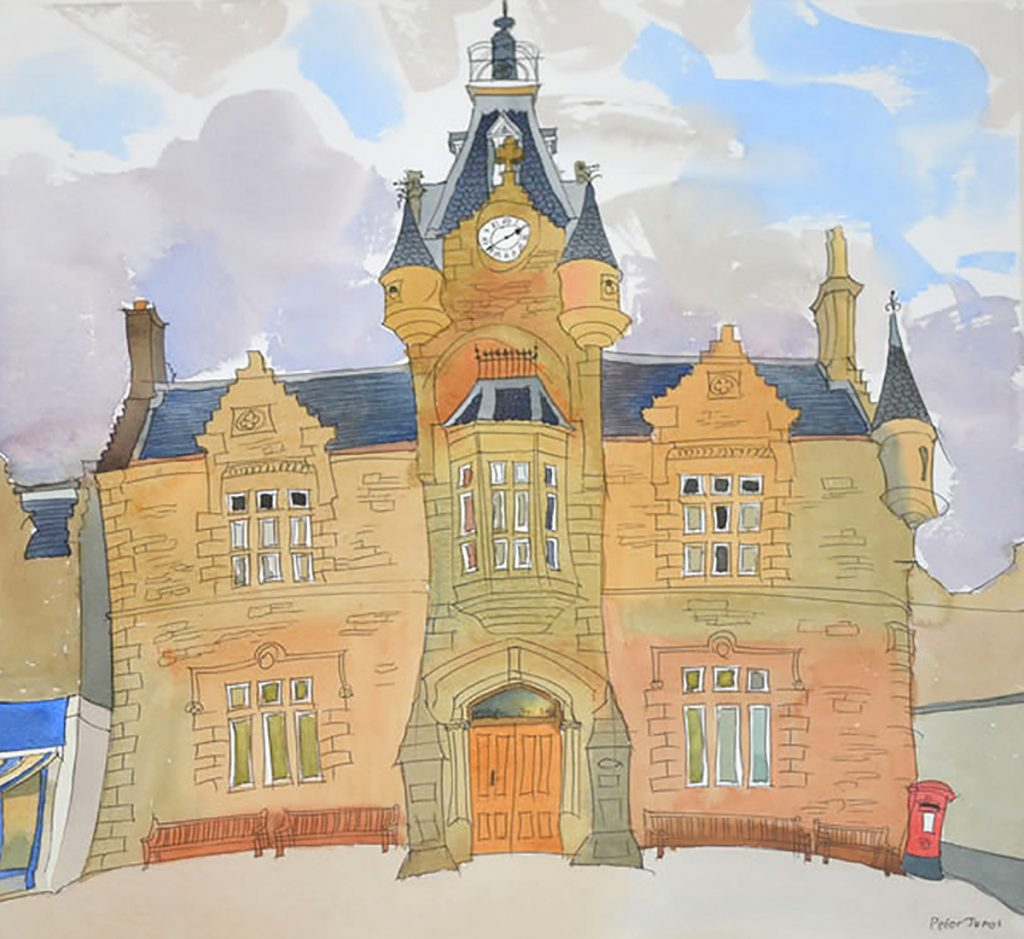 Peter Jones - The Old Town Hall, Portobello by watercolour & ink