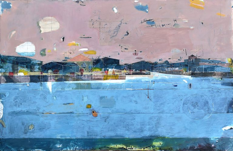 Amy Dennis - Leith docks III, pigment and acrylic binders on Jesmonite on aluminium