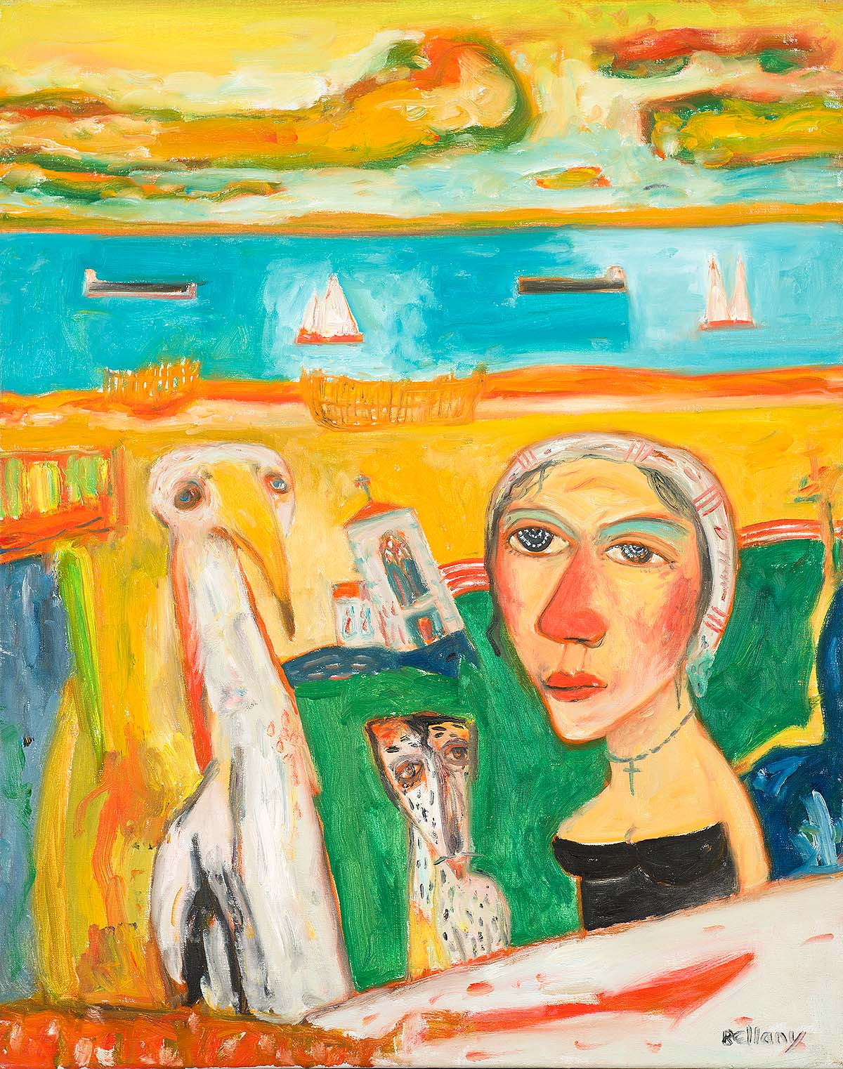 John Bellany - By the Sea, oil on canvas