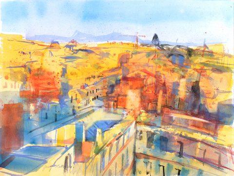 Jenny Matthews - Roman Rooftops II, watercolour