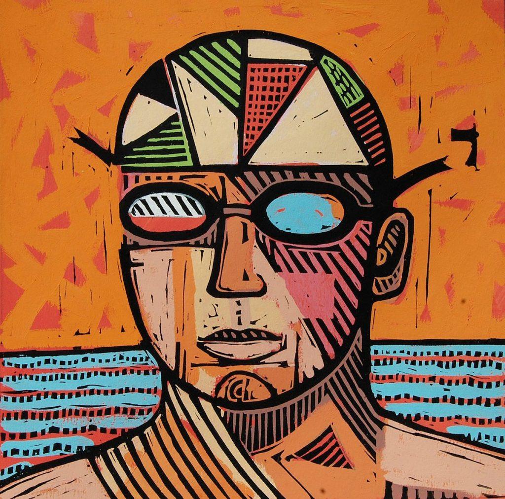 Joe Davie - Orange Swimmer, mixed media, linocut