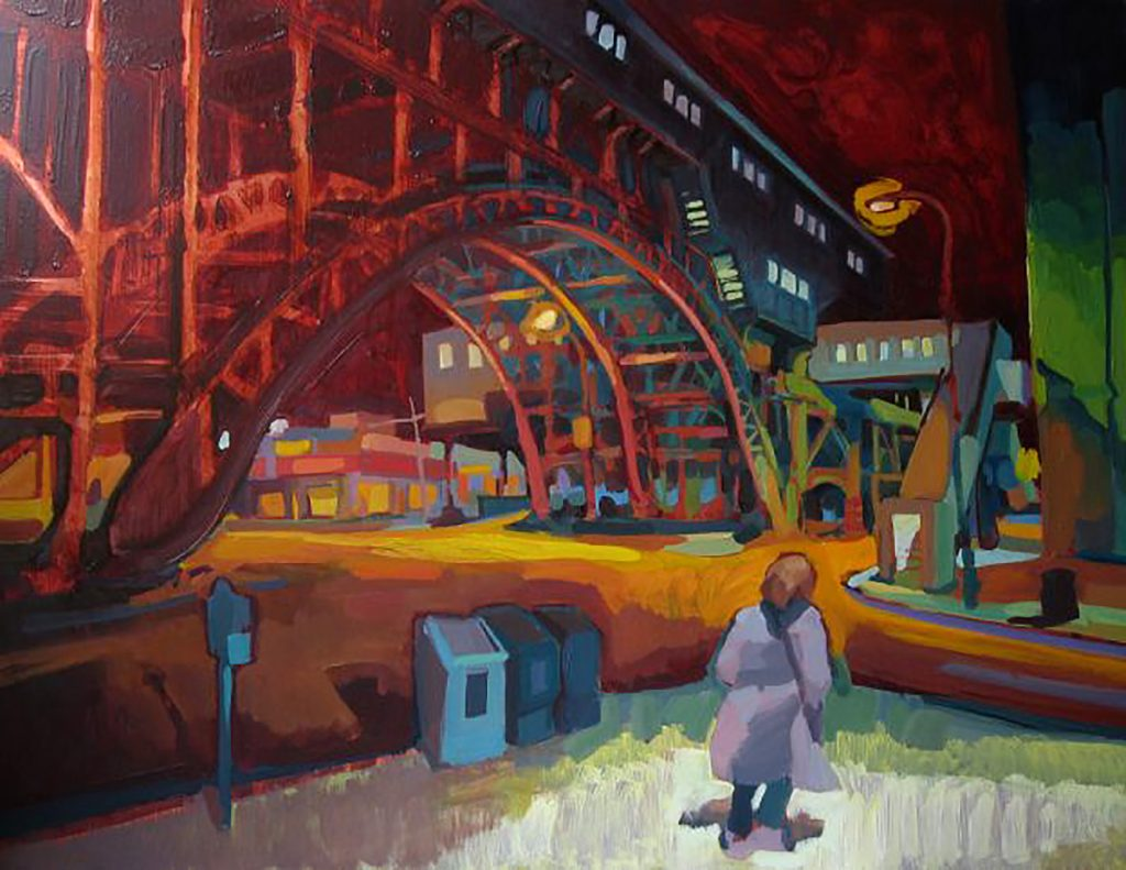 Lachlan Goudie - Night Transit, oil on copper
