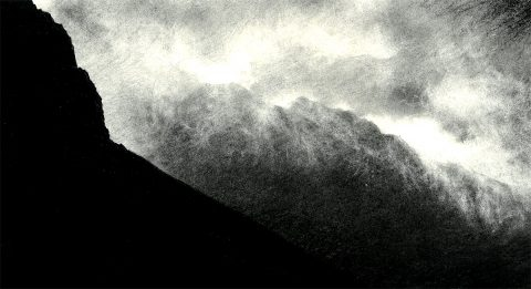 Phil Edwards - Morning Cloud Pouring over the Ridge, charcoal