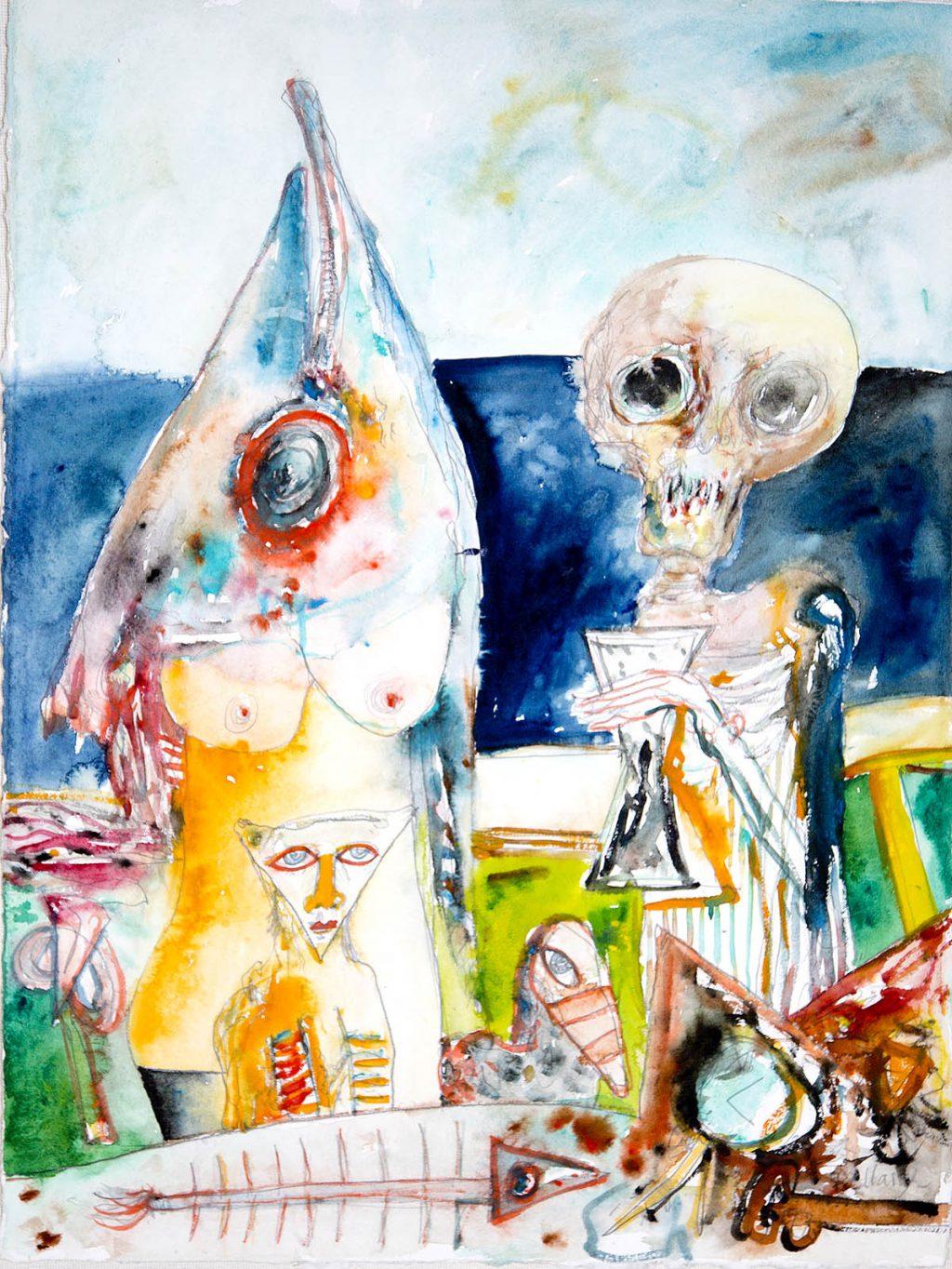 John Bellany - Sea Offering, watercolour