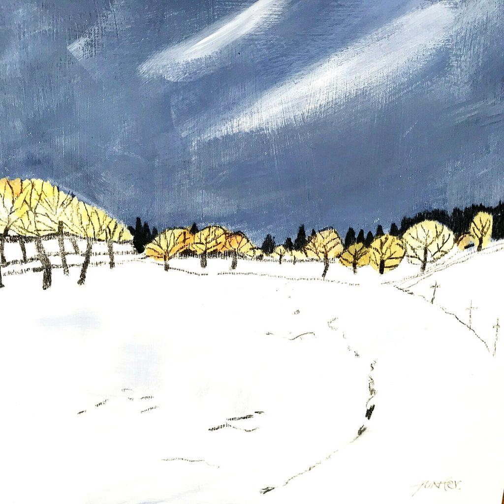 Andrew Hunter - Winter Blast, acrylic on board