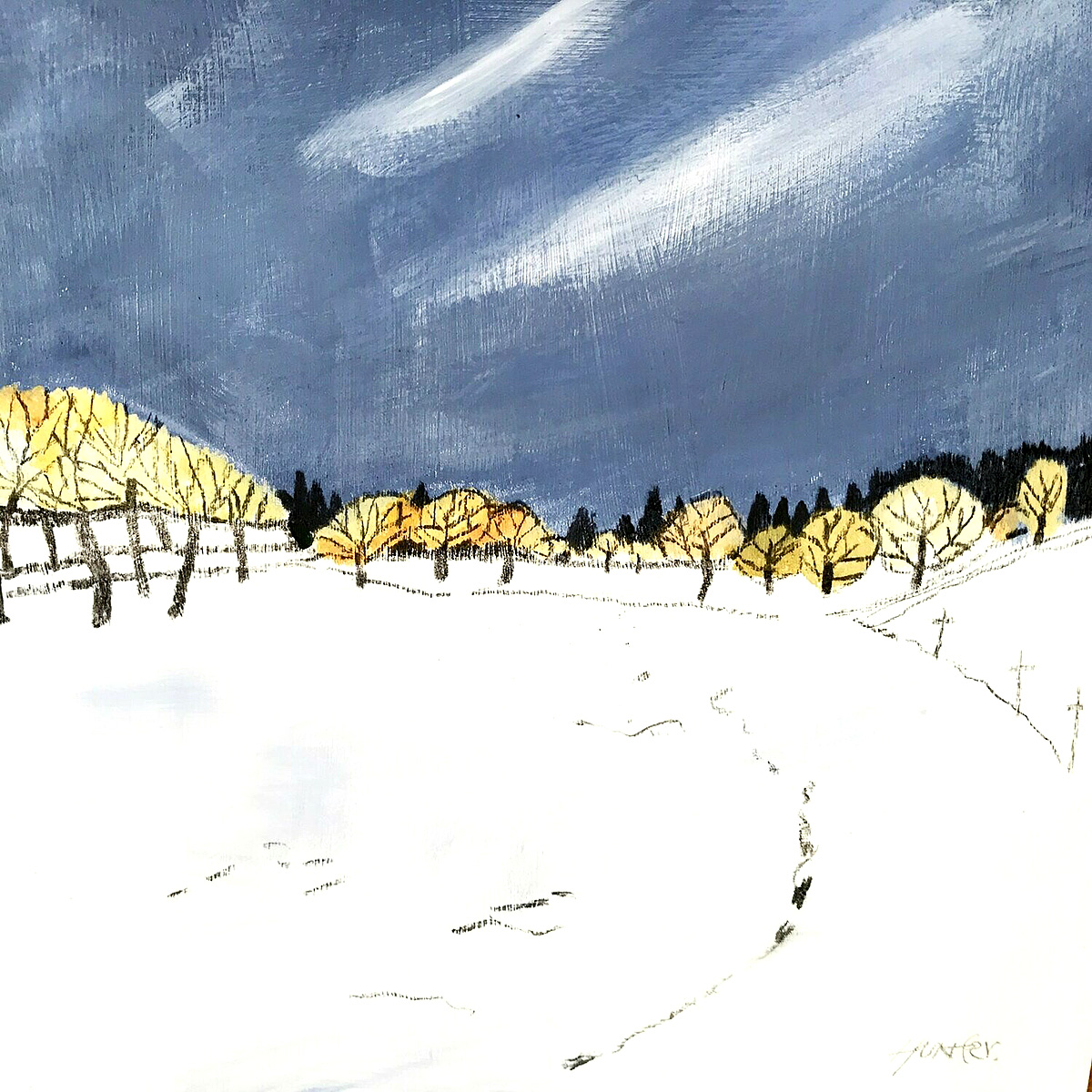 Andrew Hunter - Winter Blast, acrylic on board