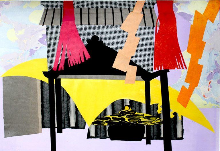 Elspeth Lamb RSA - Temple in the Wind, Fujikawaguchiko, collage on paper