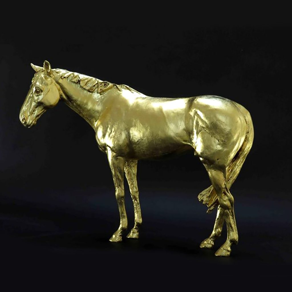 Frippy Jameson - Racehorse in Gold II, 24-carat European gold leaf bronze