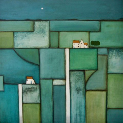 Jackie Henderson - A Patchwork of Fields Under a Full Moon, acrylic and mixed media