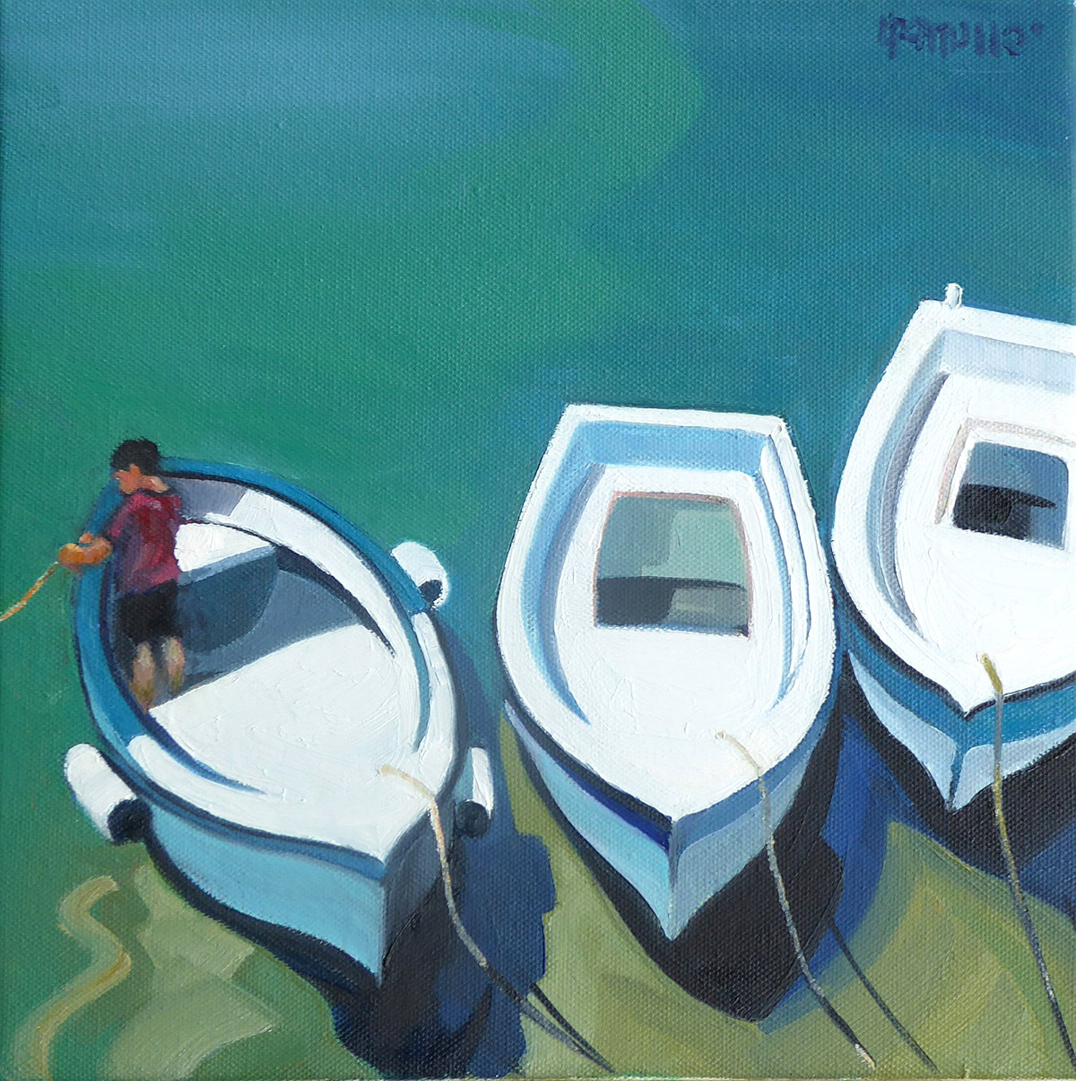 Lin Pattullo - Harbour Boats, oil on canvas