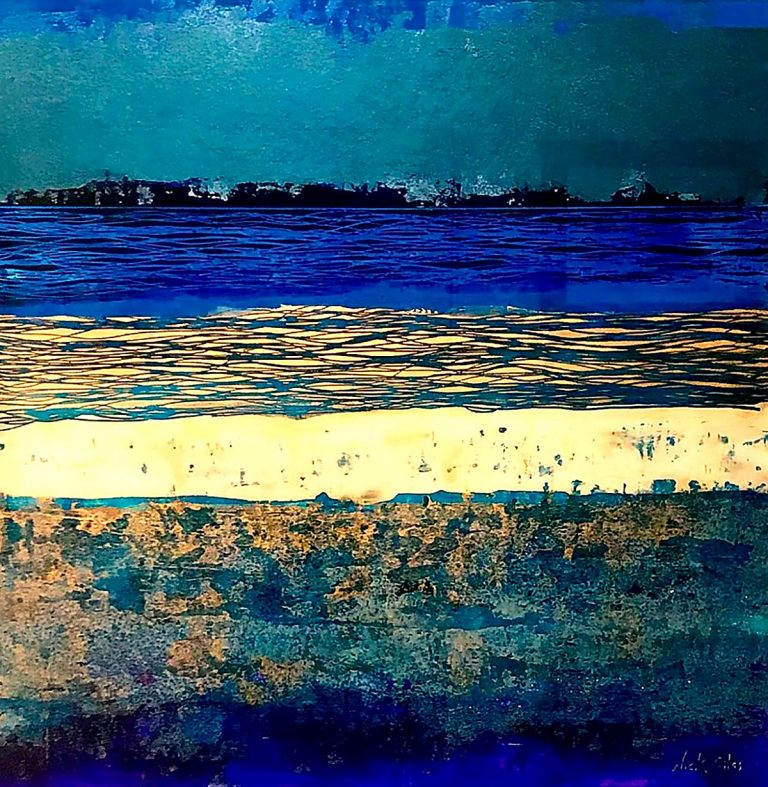 Nick Giles - Elemental Arran Abstract Tones of Blue', mixed media and glass