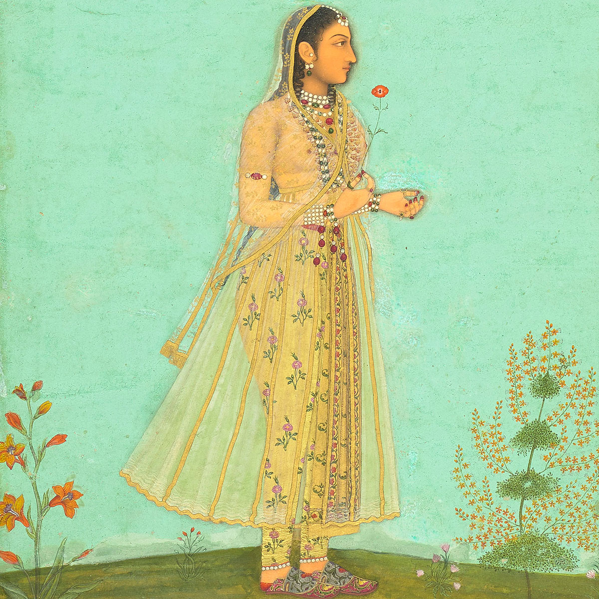 A Mughal lady (possibly Farzana Begum), c.1650. Royal Collection Trust/ c Her Majesty Queen Elizabeth II 2020