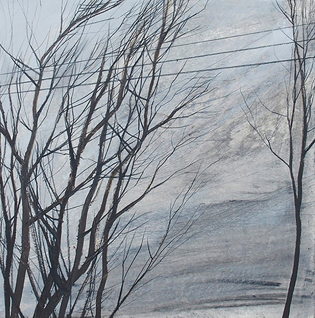 Anna King, Bare Trees with Power Lines, oil and pencil on paper and board