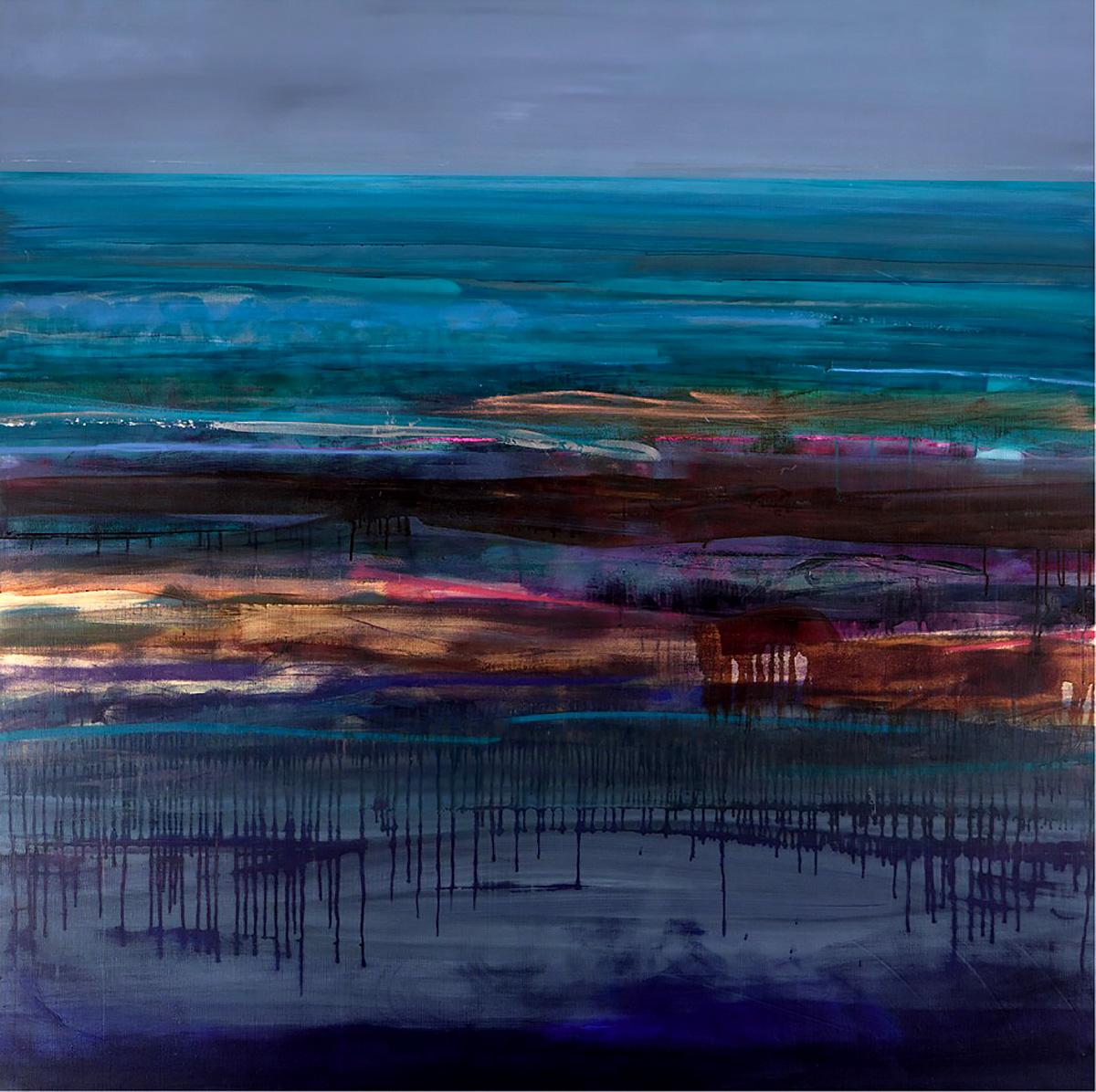 Anna Somerville, 'Aqua Coast Scape', mixed media on linen