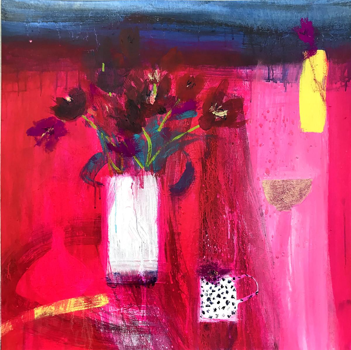 Caroline Bailey - Tulips and Night Sea, mixed media