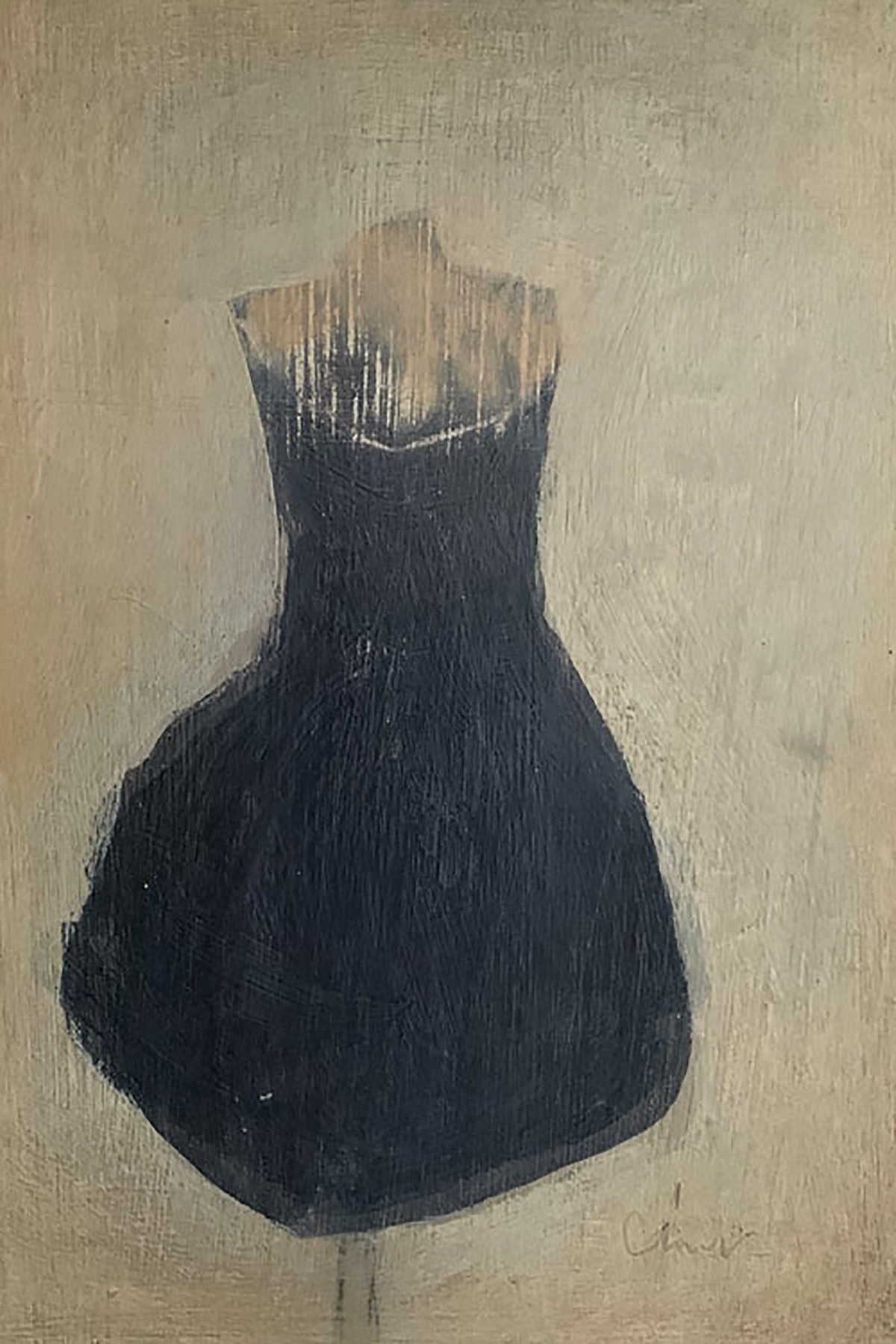 LBD, conte and oil on gesso panel