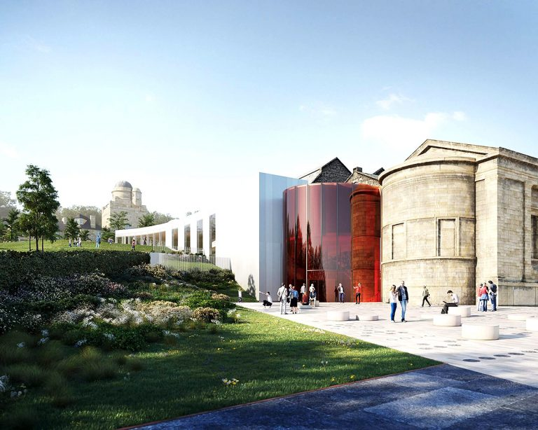 Paisley Museum Reimagined: external view of extension and garden