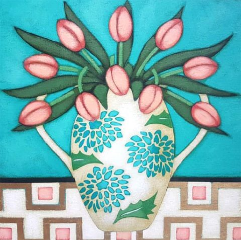 Fiona Millar - Pink Tulips In a Chrysanthemum Vase With Gold Leaf