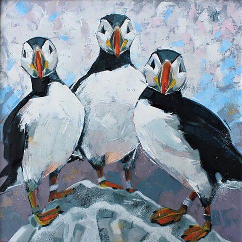 Gwen Adair, 'Improbability of Puffins', oil on canvas