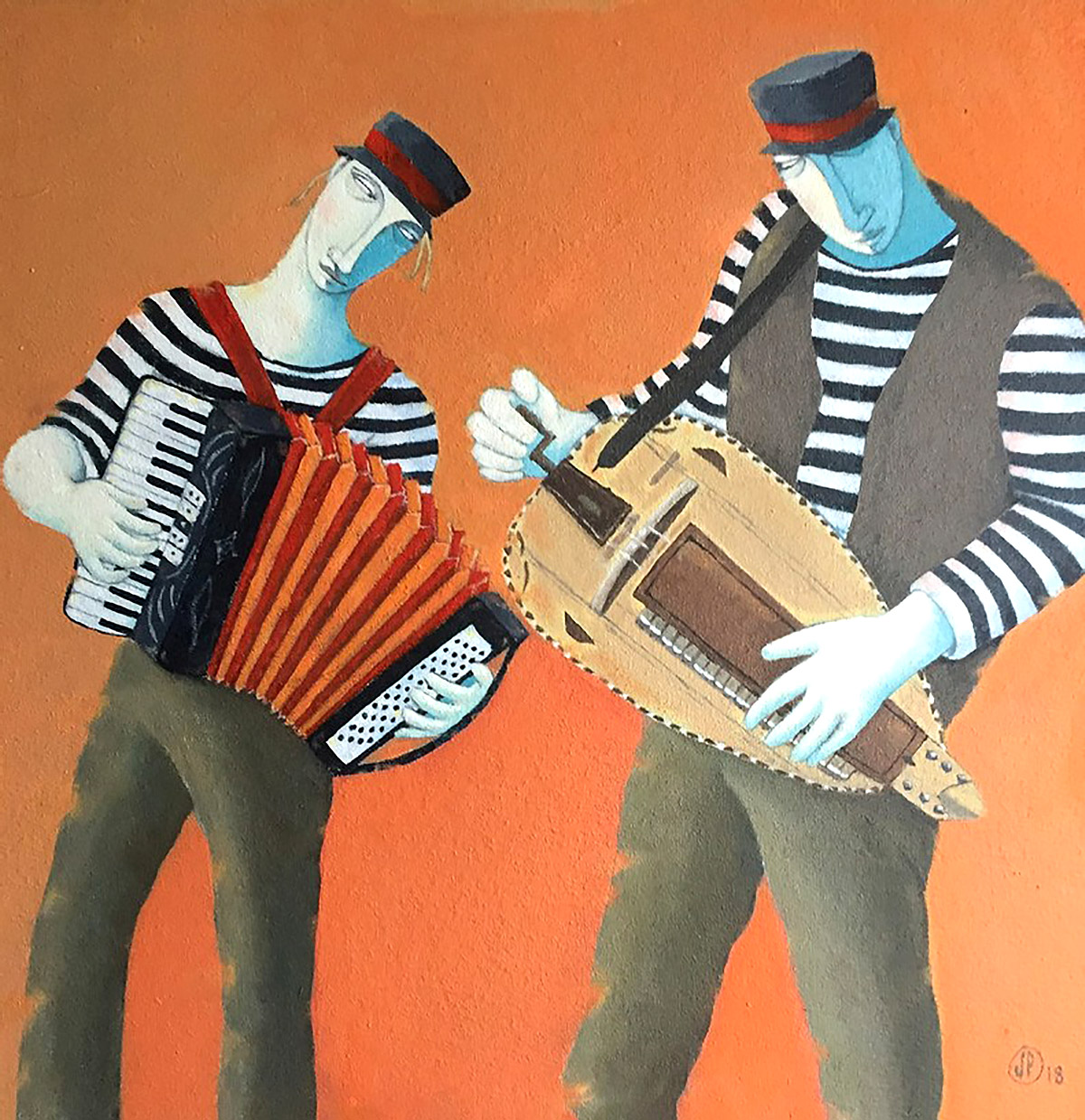 Joanna Powell, 'Accordion and Hurdy Gurdy', oil on canvas