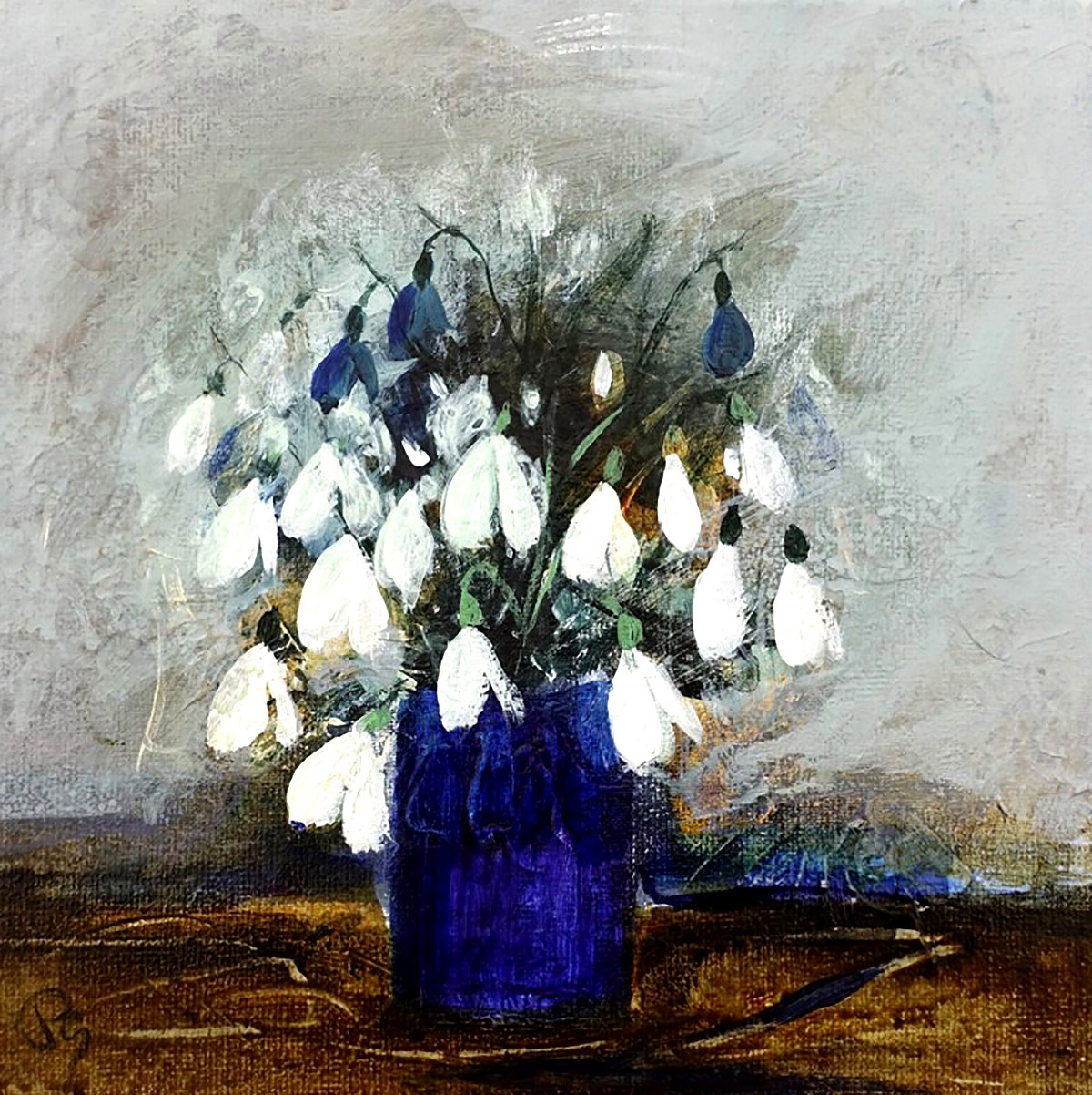 Patricia Sadler, 'Snowdrops In A Blue Vase', acrylic on canvas