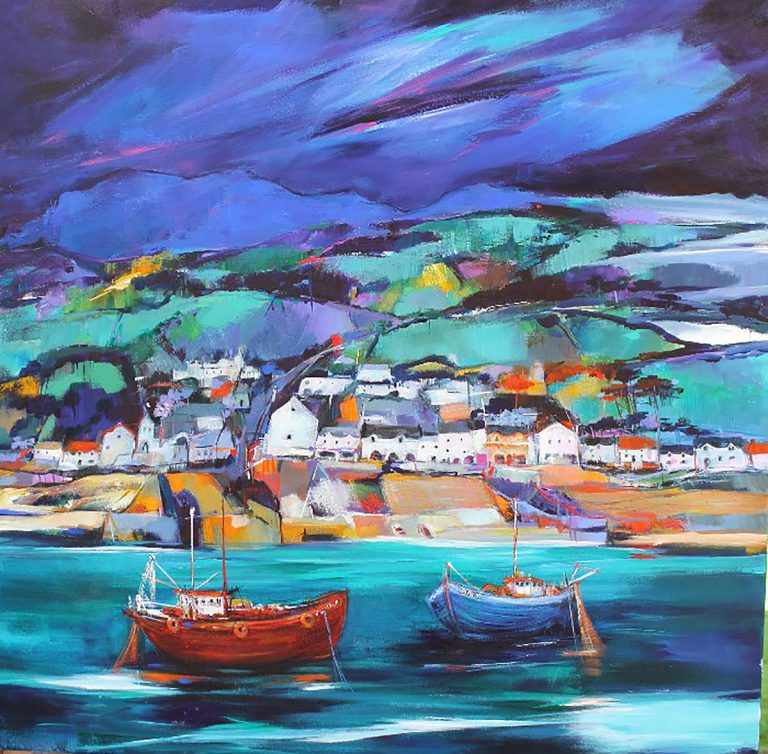 Shelagh Campbell - Ullapool, acrylic on canvas