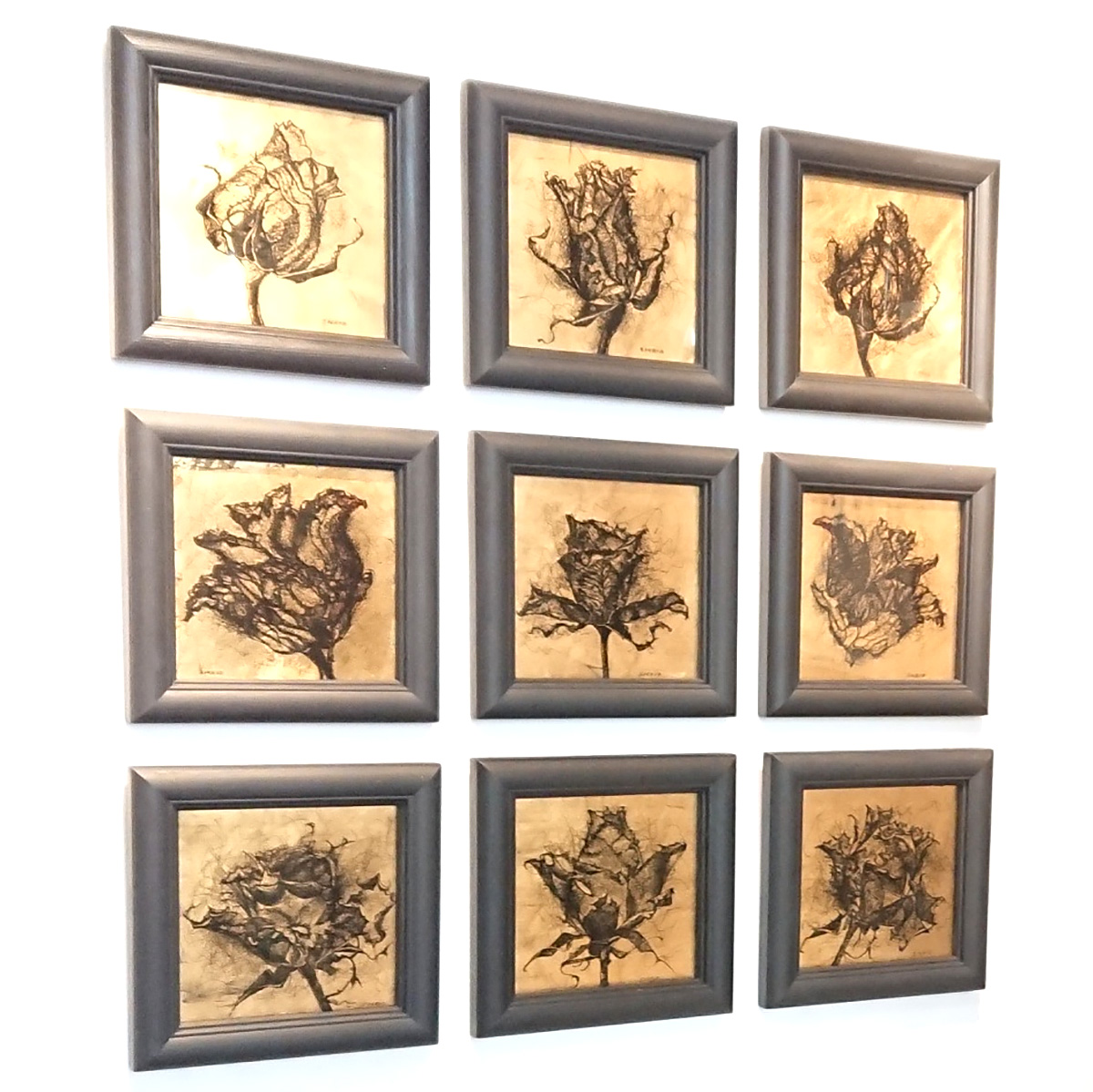 Sigrid Shone, 'Rose', Verre eglomise: Dutch metal leaf on glass