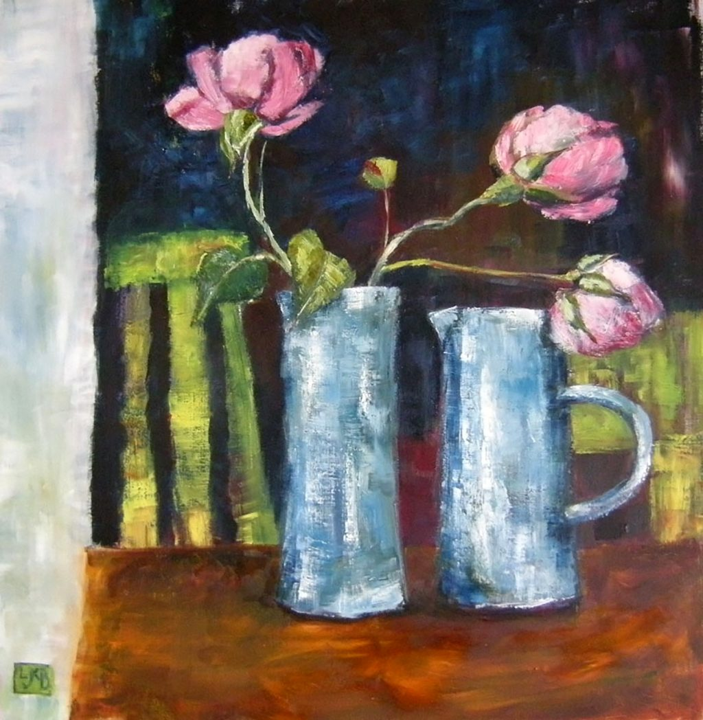 Linda Kinsman-Blake - Two Blue Vases, oil on board