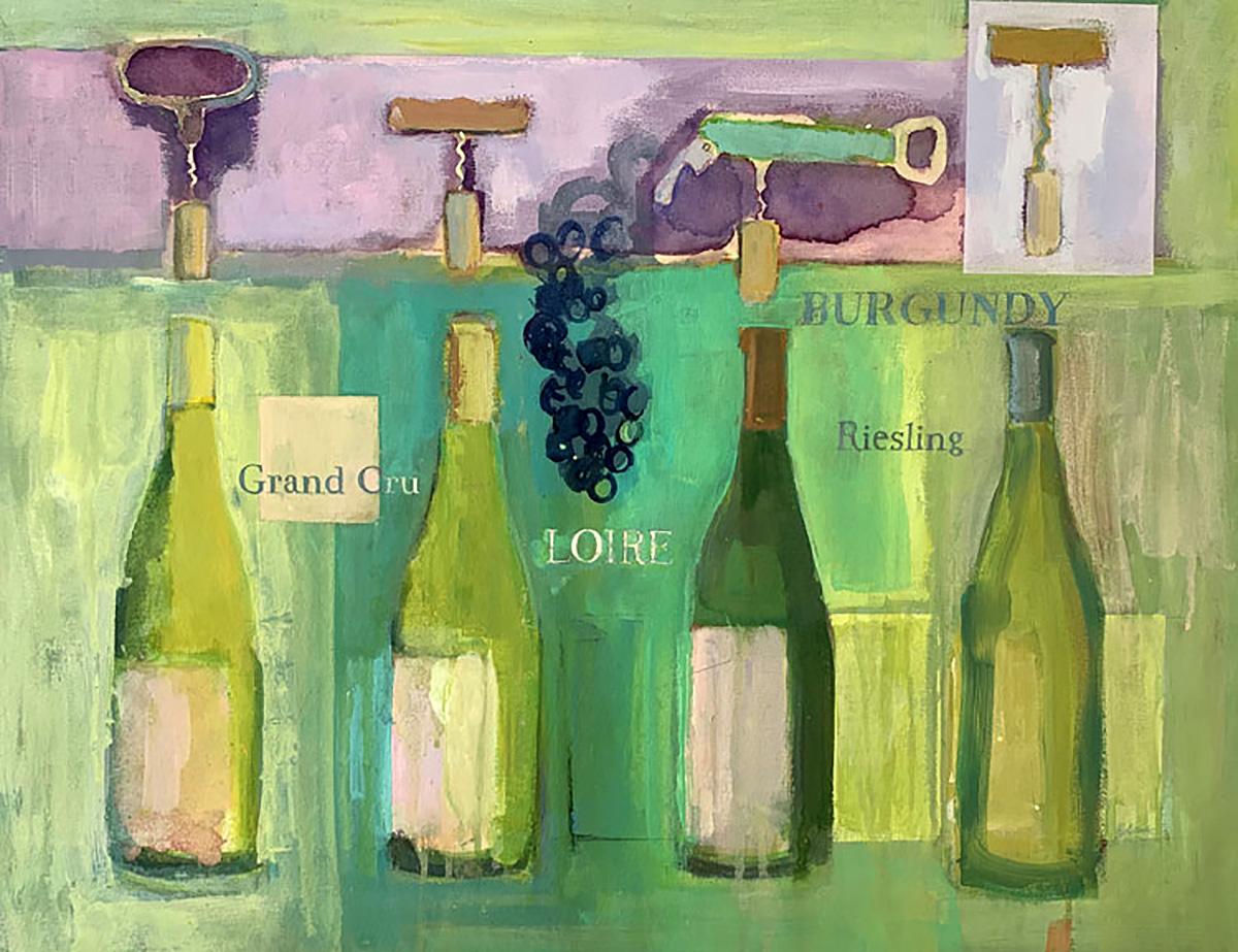 White Wine, mixed media, watercolour