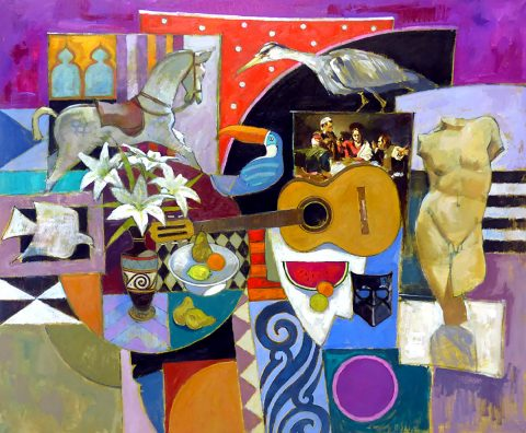 Jack Morrocco - Studioscape with Caravaggio, oil on canvas