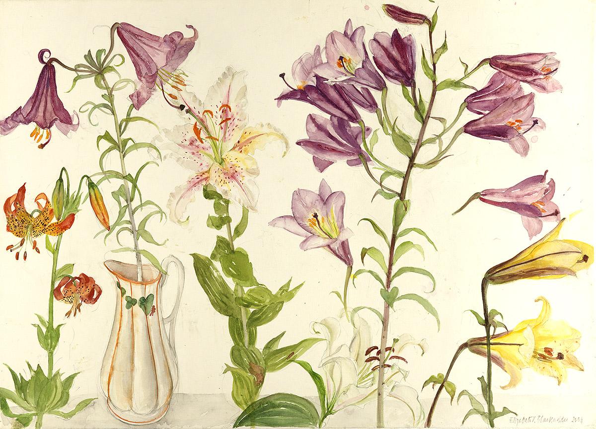 Elizabeth Blackadder, 'Mixed Flowers and Jug', watercolour
