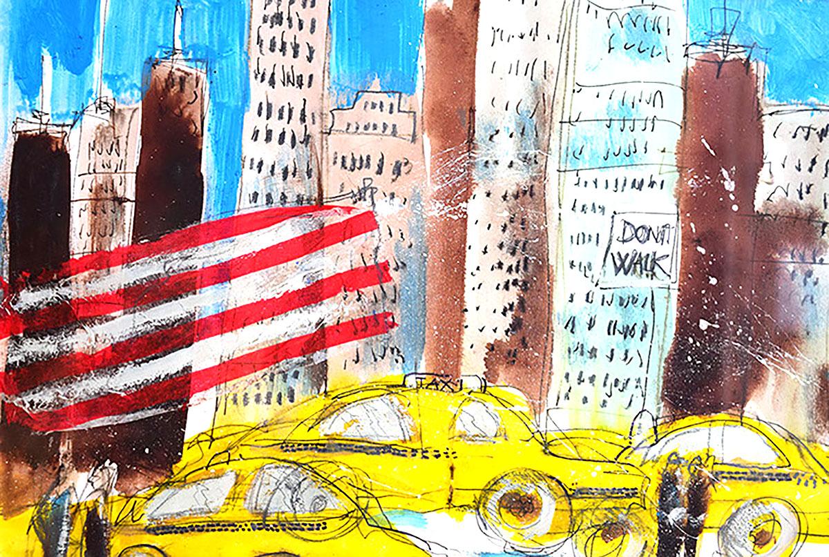 Ron Wilson, 'New York/Yellow Cabs', watercolour