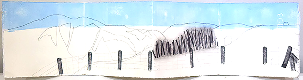 Lynda Wilson , 'Pentland Hills', pencil, rubber stamping and block printing on paper