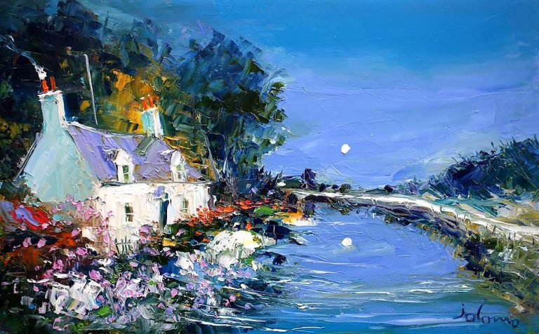 John Lowrie Morrison OBE, 'Summer Eveninglight Puddlers Cottage Crinan Canal, oil