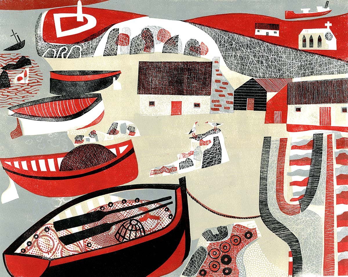 Melvyn Evans, 'Boats, Church and Lighthouse', linocut