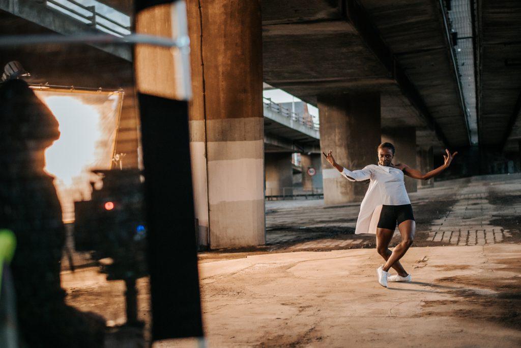 Rishan Benjamin on set for Frontiers, part of Scottish Ballet's Digital Season