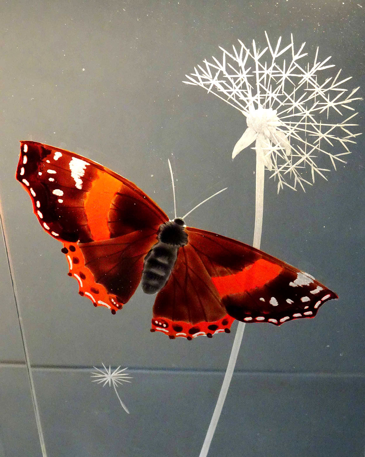 Alison Kinnaird, 'Red Admiral Butterfly', engraved and enamelled glass