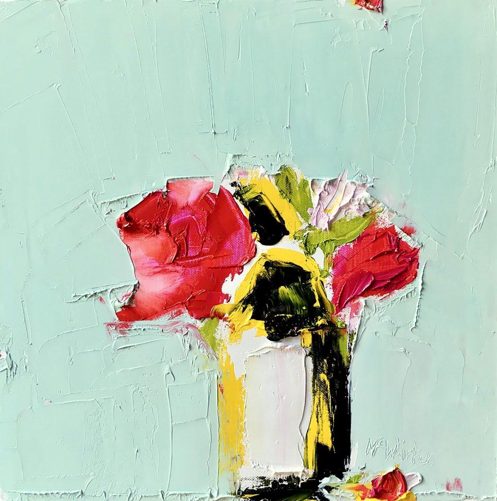 Alison McWhirter, 'Superstar Roses and Sunflower', oil on linen