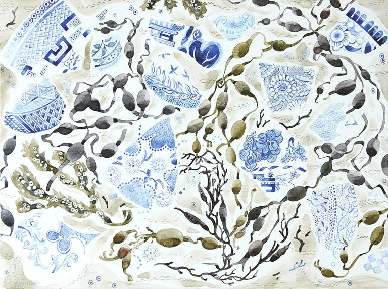 Angie Lewin, 'Shoreline China', watercolour on gesso panel
