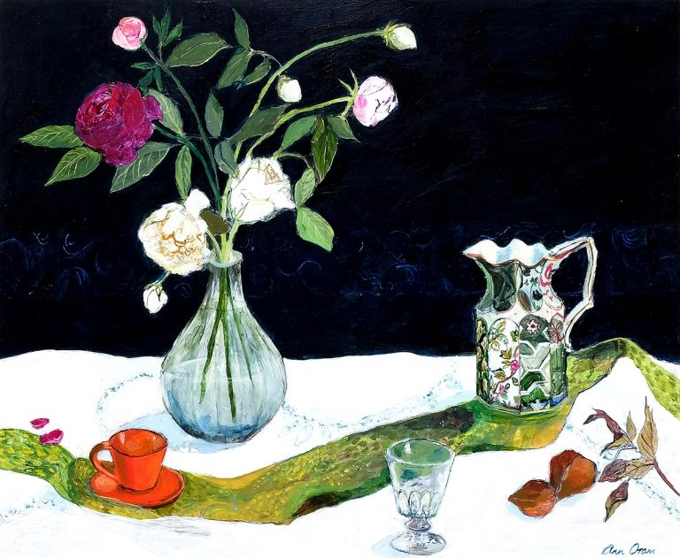Ann Oram, 'Kitchen Still Life with Roses and Lornstone Jug', acrylic on board
