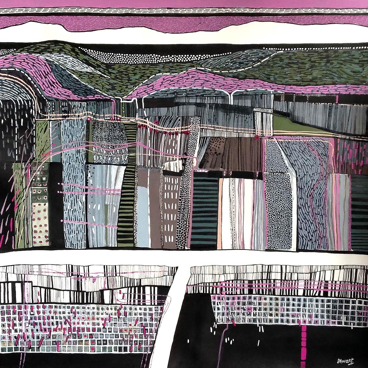 Carol Dewart, 'A Green Hill Far Away', gouache