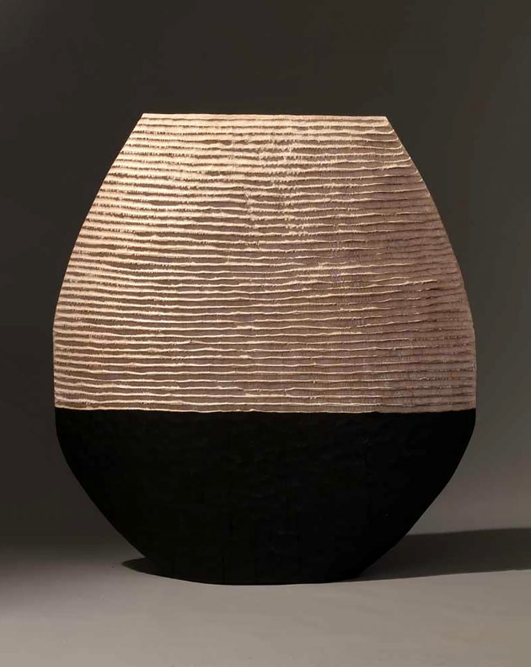 'Great Black and White Vessel', limed and scorched oak