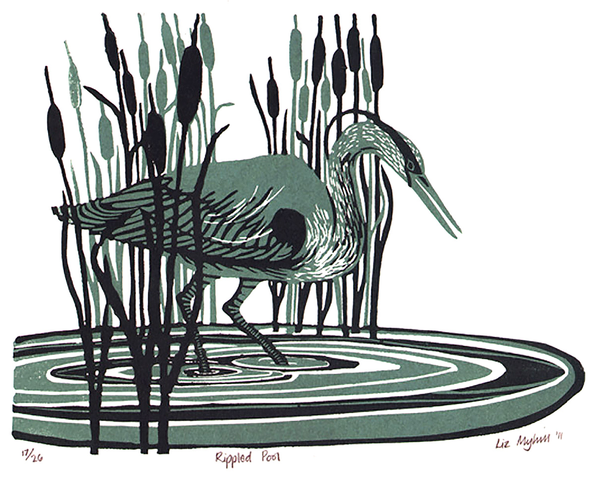 Liz Myhill, 'Rippled Pool', linoprint