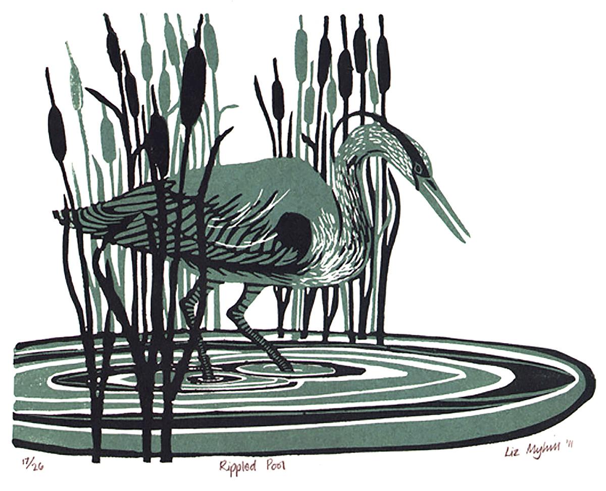 Liz Myhill, 'Rippled Pool', linoprint