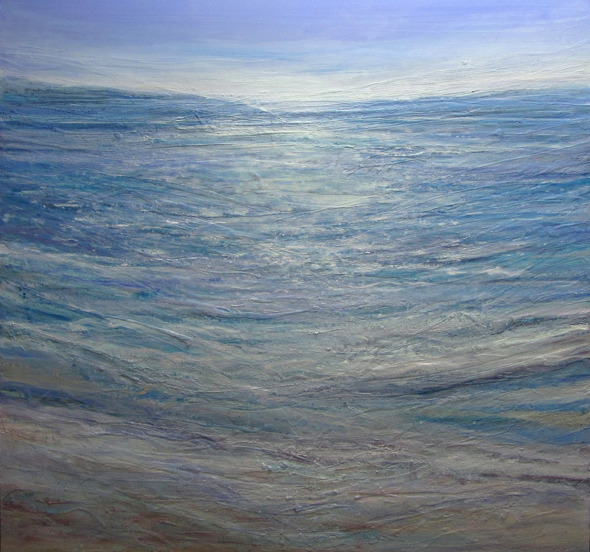 Alison McGill, 'Shore, Sea and Sky', oil and wax on board