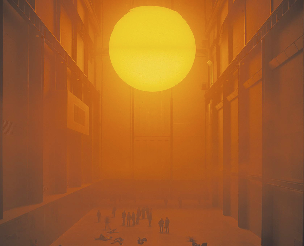 The Danish-Icelandic artist Olafur Eliasson showed a representation of the sun in the Tate Modern's Turbine Hall in his 2003-04 exhibition The Weather Project. Photo- Tate Photography © Olafur Eliasson