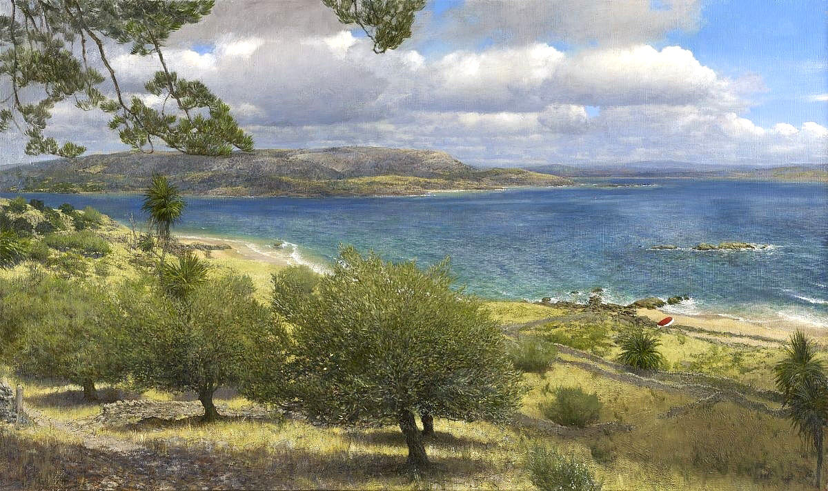 Martin Greenland, 'Whitbarrow from Lindale, across Witherslack Bay', oil on canvas