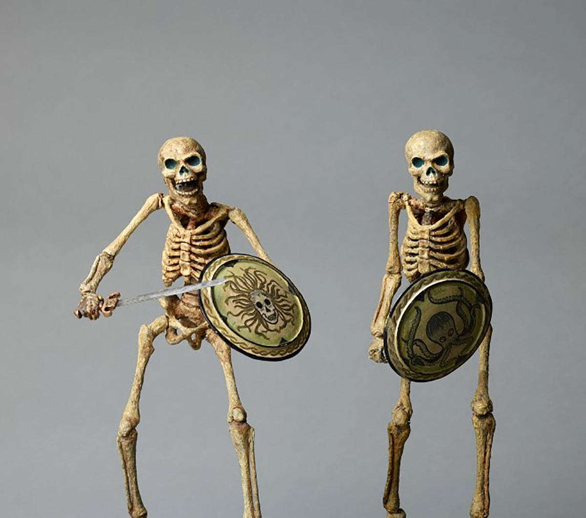 Skeleton model with Medusa shield and Skeleton model with octopus shield from Jason and the Argonauts, (1963),Ray Harryhausen © The Ray and Diana Harryhausen Foundation ;Collection: The Ray and Diana Harryhausen Foundation (Charity No. SC001419)