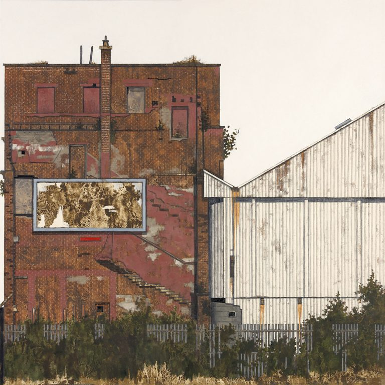 Cate Inglis, 'Shotblasting Factory', oil on board