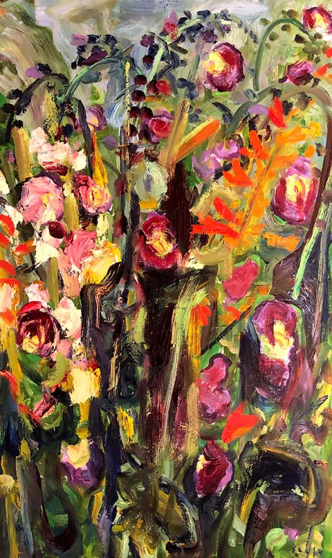 David Mackie Cook, 'Artist's Garden Autumn II' oil on panel